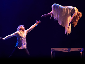 Stage magic - Hans Klok performing a levitation
