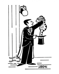 Cartoon of a magician pulling a snake out of a hat