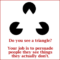 Optical illusion to illustrate the magician's job: to persuade people they see things they don't